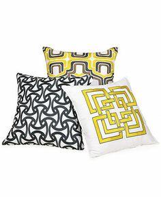 """Trina Turk Santorini Mini 20"""" Square Decorative Pillow - Black & White.  Macy's."""