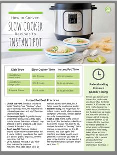 How to convert crockpot recipes to instant pot