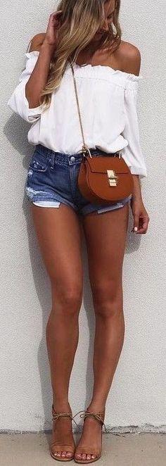 #summer #outfits / crop top + denim short shorts