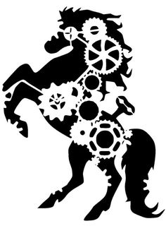 "6/6"" steampunk cogs horse stencil."