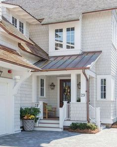 Working on picking an exterior paint color -- what's your favorite this barely there gray, white or dark ?!? This color is Sherwin Williams Repose Gray. Architect @tsadamsstudio