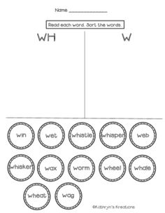 W and WH Digraph: Sort The Words by Kathryn's Kreations | Teachers Pay Teachers