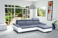 Canapé d'angle CAYENNE gris et blanc avec têtières ajustables http://meublesline.com/canapes-d-angles/664-canape-d-angle-4-places-cayenne.html