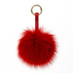 Red chain fur/faux fur pom pom for a handbag by Surell Accessories. Available on ShopSurell.com.