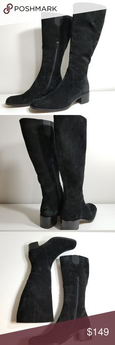 "Via Spiga Suede Side Zip Boots Size 9 Luxury Via Spiga Suede Zip Up Boots Size 9, black, side zipper, great condition just mainly the scuffing on the bottom and small scuff or 2 on the heels. Made in Italy, 16"" tall, heel is 2"". Heel boots, heeled boots, zipper boots Via Spiga Shoes Heeled Boots"