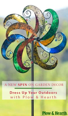 Discover a gorgeous, fun way to transform your outdoor space with this summer's hottest garden accessory. The Jingle Scroll Wind Spinner from Plow & Hearth is guaranteed to add a splash of color all year round and will look beautiful nestled among your flowers or planter. Head over to Plow & Hearth and discover the whole collection of eye-catching spinners and pinwheels. Visit PlowHearth.com and get your backyard in shape.