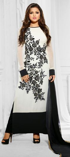431333, Bollywood Salwar Kameez, Georgette, Floral, Zari, Lace, Machine Embroidery, White and Off White Color Family