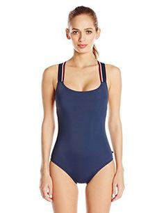 2a4516594f819 Tommy Hilfiger Women's Desert Serape Stripe Cross Back One Piece Swimsuit,  Core Navy, 14