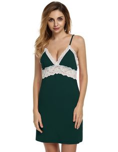 7d27ecdf48 Ekouaer Brand Spring Autumn Nightgown Women Sexy Spaghetti Strap Lace  Patchwork Lingerie Dress Sleepwear Sleepshirts Size