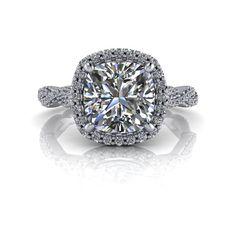 Diamond Halo Engagement Ring Twist Shank Cushion Cut NEO Moissanite 2.25 CTW