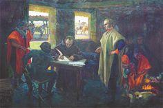 ARTIGAS DICTANDO A SU SECRETARIO JOSÉ MONTERROSO Óleo sobre tela, Pedro Blanes Viale Dimensiones: 3283 x 2393 mm