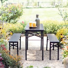 Inspired by traditional Oktoberfest dining sets, this table and bench set collapses for easy storage indoors and transitions between indoors and out, Dining Set With Bench, Metal Dining Table, Patio Table, Outdoor Dining, Outdoor Tables, Outdoor Decor, Outdoor Garden Furniture, Outdoor Entertaining, Outdoor Gardens