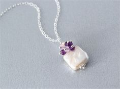 February Birthstone Necklace, White Square Freshwater Pearl, Amethyst Faceted Rondelle, Sterling Silver Daisy Spacer and Chain. Gift. N134