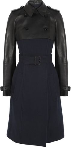 BURBERRY PRORSUM Black Leather And Wool Blend Coat - Lyst