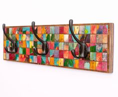 Mosaic Wall Coat Rack  Multi Colored Handmade Paper by calyrew, $145.00