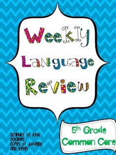 Common core alert! 20 weeks of spiral review for the 5th grade common core language standards!