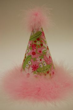 Pink girly Frog birthday party hat- Fabric hat with pink feathers. $15.00, via Etsy.