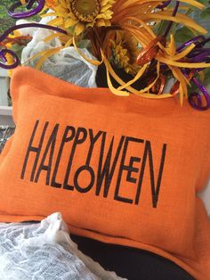Love the font of this Halloween Burlap pillow I made today..cindyjaegerdesigns@hotmail.com $68.00