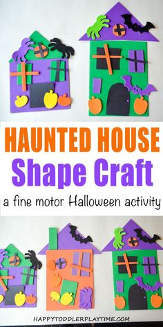 Shape Haunted House Craft - HAPPY TODDLER PLAYTIME Shape Haunted House is a fun educational Halloween craft your toddler or preschooler will enjoy. It's a great way to combine learning shapes and gluing! #halloweenactivities #halloweencrafts #halloweencraftsforkids