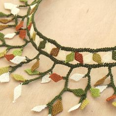 Turkish OYA Lace - Silk Necklace - Leaves by DaisyCappadocia on Etsy