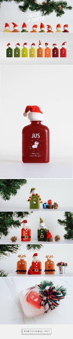 JUS • Juice Up Santa packaging design by M - N Associates - http://www.packagingoftheworld.com/2017/12/jus-juice-up-santa-christmas-seasonal.html