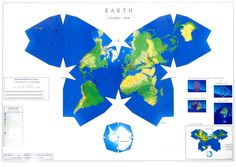 """World map — Waterman butterfly projection. Designed to preserve """"relative size, shape, and position of all lands."""""""