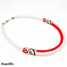 Items similar to Black White Ethnic Necklace / Red White Traditional Necklace / Special Women Jewelry / Twisted Rope Necklace / Rose Necklace on Etsy Marine Rope, Handmade Necklaces, Handmade Gifts, 18 Days, Rope Necklace, Ethnic, Rest, Delivery, Beaded Bracelets