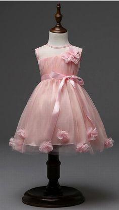 Charming Pink Girl Flower Dress Princess Dress Party