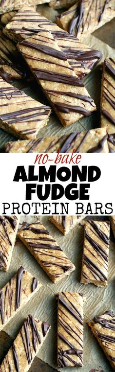 Give store-bought protein bars a run for their money with these soft and fudgy No Bake Almond Fudge Protein Bars! They're gluten-free, refined-sugar-free, vegan, and make a delicious healthy snack!   runningwithspoons... #healthy #snack #recipe