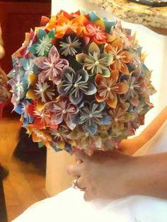 Crunchy Green Mom: Origami Paper Flower Wedding Bouquet