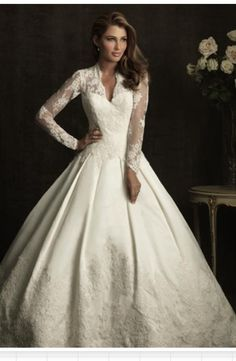 Allure Bridals Kate Middleton Inspired Long Sleeve A-Line Bridal Gown
