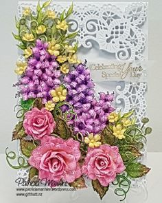 Special Day Bouquet Handmade Card - create your very own paper flower bouquet with the floral cling stamp sets and coordinating dies from Heartfelt Creations! This beautiful paper project features roses, lilacs and stunning mini accent flowers all created with paper! The elegant frame a card die creates such a delicate and charming backdrop! #HeartfeltCreations #paperflowers #classicroses #lushlilacs #wildwoodcottagecollection #cardmaking #scrapbooking #handmadecard #diycrafts #diy