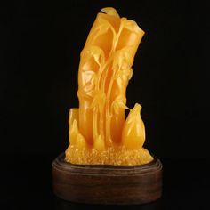 Superb Indonesia Natural Jin Tian Huang Bamboo Statue