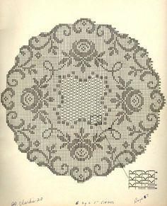 Kira crochet: Crocheted motif no. Filet Crochet Charts, Crochet Motif, Diy Crochet, Crochet Doilies, Crochet Round, Crochet Flower, Crochet Books, Thread Crochet, Crochet Scarves