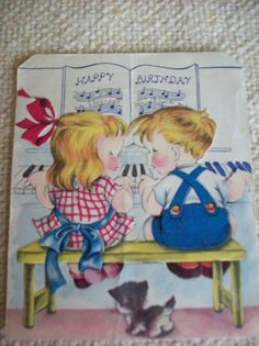 Vintage Birthday Card Children Playing Piano by by kris67 on Etsy, $4.00