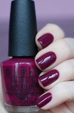 O.P. nails in maroon raspberry #nails #beautiful #fall