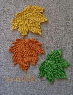 crochet leaf motif by kerry Crochet Leaves, Crochet Fall, Irish Crochet, Crochet Flowers, Knit Crochet, Crochet Potholders, Crochet Motif, Crochet Hooks, Crochet Patterns