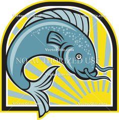 artwork, barbel, cartoon, catfish, diving, fish, graphics, illustration, isolated, jumping, spotted, sunburst, wildlife