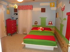 Super mario bedroom ideas, Super Mario Luigi Yoshi Theme Decal for Kid's Bedroom Wall Decor. wide selection of Super mario bros kids' furniture within our ki. Super Mario Room, Kids Room Design, Kid Spaces, My New Room, Boy Room, Room Kids, Child's Room, Kids Rooms, Kids Bedroom