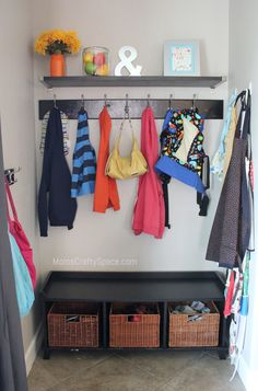 """Kitchen """"Mud Room"""" Nook Makeover ~ Mom's Crafty Space - This is what I want to replace our non existant mudroom..."""