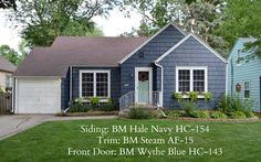 KRUSE'S WORKSHOP Benjamin Moore BM Hale Navy Exterior BM Steam BM Wythe Blue