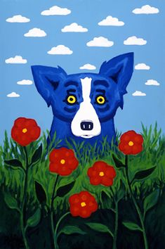 Own a Blue Dog painting Cloud IllusionsBy Artist George Rodrigue Blue Dog Painting, Blue Dog Art, Dog Paintings, Elementary Art, Pet Portraits, Cute Art, Dog Love, Art Lessons, Illusions