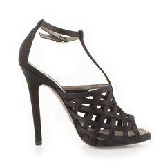 #VERSACE COLLECTION #sandals #satin #black #elegant heels #buynow #shopatvoi $421.00