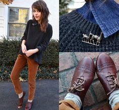 Black Knit Sweater, Grandpa Pants, Born Oxfords, Alpaca Pin, Socks, Collared Shirt | I am oak (by Greer Hall) | LOOKBOOK.nu