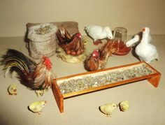 Realistic Dollhouse miniature farmyard scene with chickens, geese 1:12 scale
