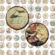 NEW Vintage Birds  Digital Collage Sheet  18mm by calicocollage, $3.75