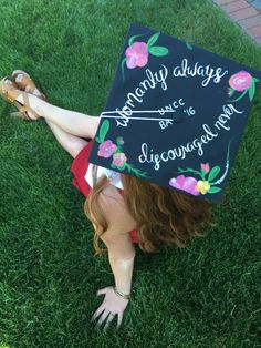 chi omega grad cap - womanly always, discouraged never