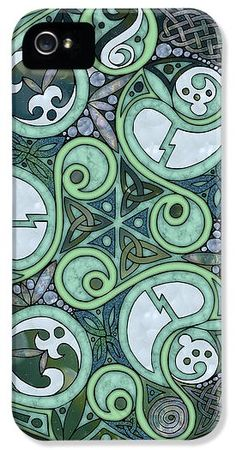 This iPhone case design is based on my original Art of FoxVox Celtic Stormy Sea Mandala design - lots of oceany Celtic spirals and knotwork in deep blues/greens, and dusky purplish tones. http://kristen-fox.artistwebsites.com/products/celtic-stormy-sea-mandala-kristen-fox-iphone5-case-cover.html