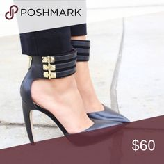 """Sam Edelman Claire Pumps • Excellent Used Condition Sam Edelman Pumps sz 8.5 • Black with gold studs on ankle strap • There's a small nick in the back of the right heel - photo shown • Heel height: 4.5"""" • Measurements Available Upon Request🔸No Trades🔸No Offline Transactions Sam Edelman Shoes Heels"""