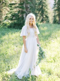 flutter sleeve lds bridal gown modest wedding dress with a flutter sleeve. Her unique florals were created by Lizy Bowden, and her dreamy photos were taken by Kenzie Victory. Wedding Dresses Lds, Wedding Dress Sleeves, Boho Wedding Dress, Bridal Dresses, Modest Wedding Dresses With Sleeves, Bridesmaid Dresses, Modest Dresses, Flutter Sleeve, Elegant